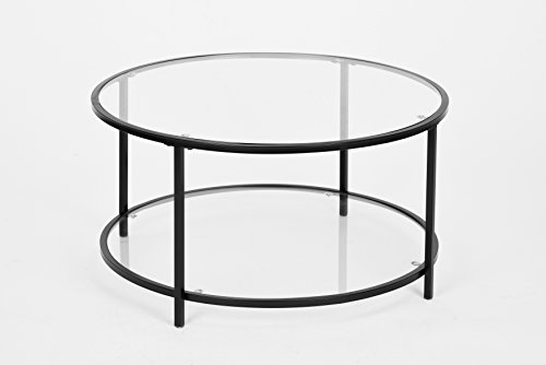 Black Finish Glass 2-tier Modern Round Coffee Table
