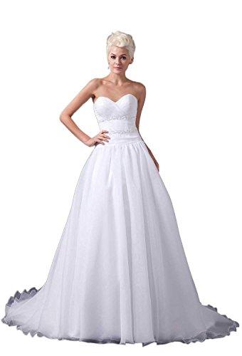 Pronovias Bridal Dresses - Angel Formal Dresses Organza A-Line Sweetheart Satin Chapel Wedding Dress(18,White)