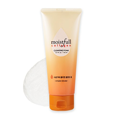 ETUDE HOUSE Moistfull Collagen Cleansing Foam 5.1 fl. oz. (150ml) - Hypoallergenic Soft & Fluffy Bubbles Moist Cleanser, Super Collagen Water & Bobab Water Makes Skin Fresh with Long Lasting Moist