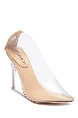 Michelle Parker Cape Robbin Glass Doll Transparent Transparent Clear Pointed Pointy Toe Slip On Stiletto High Heel Pumps Nude (6.5)
