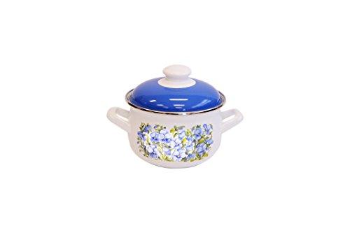 Europeware K15289/14 2.2 quart Decorative Enamel Casserole Pan, Small, Blue