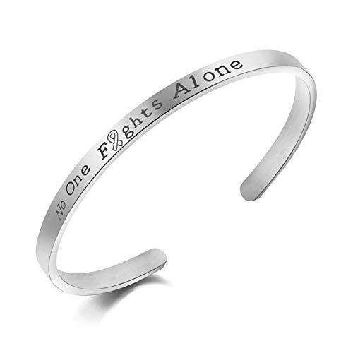 Awegift Motivational Jewelry No One Fights Alone Cancer Survior Inspirational Bracelet Women -