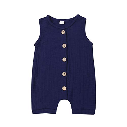 - Meipitgy Infant Newborn Baby Boys Girls Romper Bodysuit Jumpsuit Outfits Overalls Clothes 0-24 M (12-18 Months, Dark Blue)