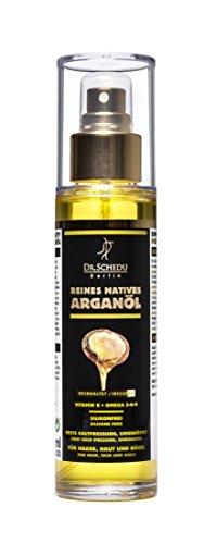 1x Dr. Schedu Berlin 100% reines natives marokkanisches Arganöl, ungeröstet, erste Kaltpressung & ohne jede chemische Behandlung, für Haare, Gesicht, Haut, und Nägel,100ml, silikonfrei und tierversuchsfrei, made in Germany!