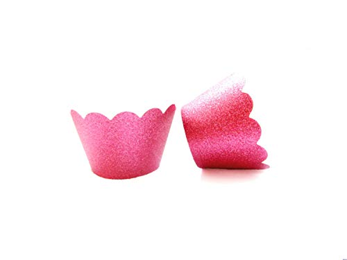 (Cupcake Liners Wrappers Set of 12 Muffins Cupcake Holders Colorful Decorations (pink glitter))