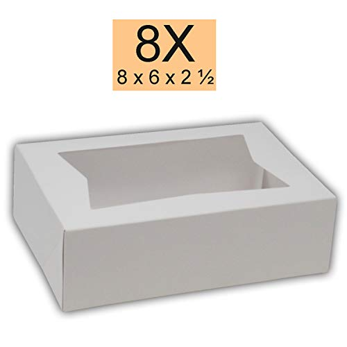 Bakery Boxes 8 x 5 3/4 x 2 1/2 Cake Box Has a Window, Auto-Popup Design, Cake Supplies, 15 Pack.