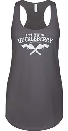 Blittzen Womens Tank Im Your Huckleberry, M, Charcoal -