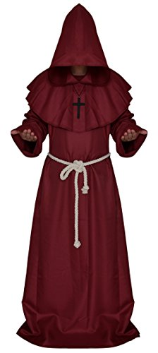 Hombre Plus Size Costumes (Ethel Adult's Friar Medieval Hooded Monk Priest Robe Tunic Halloween Cosplay Costume Set (L, burgundy))