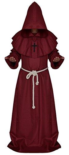 Ethel Adult's Friar Medieval Hooded Monk Priest Robe Tunic Halloween Cosplay Costume Set (L, (Ethel Halloween Costume)