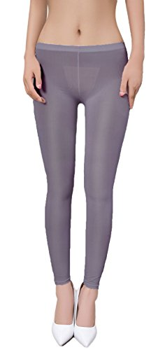 (Zukzi Womens Sexy Lingerie See Through Leggings Sheer Leggings Multi-Colors, Dark Grey, L/XL)