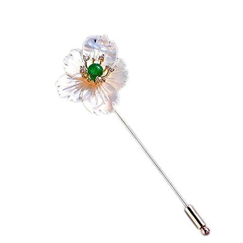 Fashion Jewelry Pearls Floral Ivory Sea Shell Silver-Tone Crystal Brooch Pin Wedding Brooch Bouquet - Enamel Floral Brooch Pin