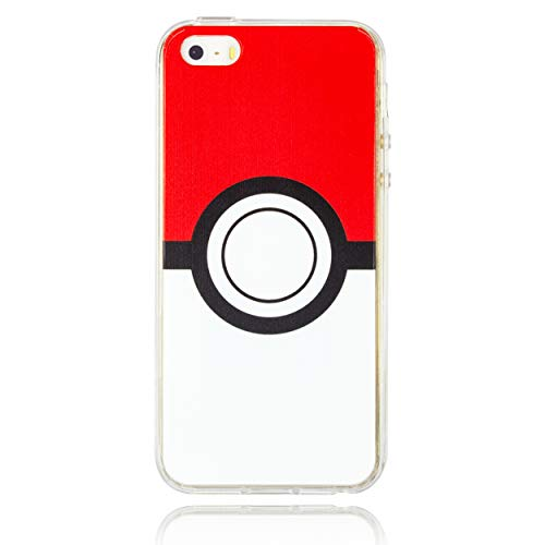 BRILA iPhone 5 5s SE SE2 Pokemon case, Pokeball Pattern case for iPhone 5s, iPhone SE, iPhone SE2 Pokemon go case