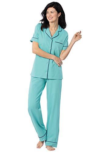 (PajamaGram Womens Pajamas Cotton Jersey - Ladies Pajamas, Turquoise, X-Large 18)