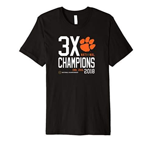 (OTS NCAA Clemson Tigers 2018 3X National Champions Tee )