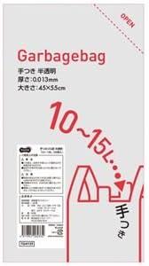 (まとめ) TANOSEE 手つきゴミ袋 半透明 10-15L 1パック(50枚) 【×30セット】