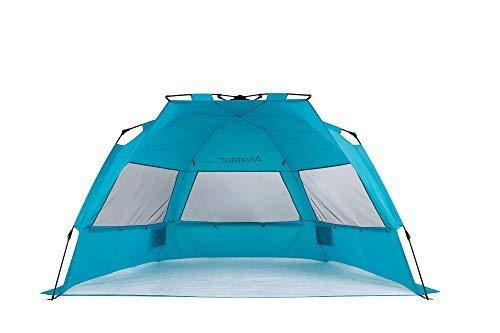 Alvantor  Beach Tent Super Bluecoast Beach Umbrella Outdoor Sun Shelter Cabana Pop-Up UPF 50+ Sun shade Portable Camping Fishing Hiking Canopy Light Weight Windproof Stable (HUB PATENT PENDING) 7010V -