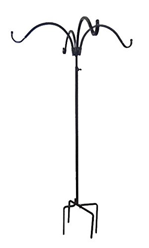 (Erva Adjustable Four Hanger Shepherd Hook, Black, 4.5' to 7')