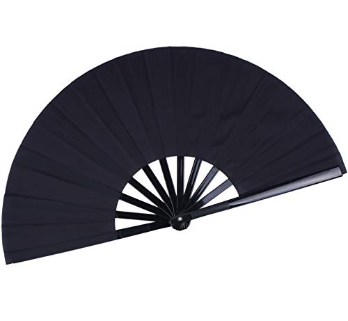HONSHEN Folding Fan Chinese Hand Fan Performance Fan Nylon-Cloth Fan 13 inch (Black)]()