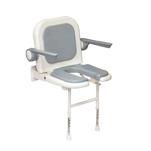 AKW U-Shaped Padded Fold Up Shower Seat with Back and Arms, Gray hot sale