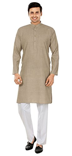 Wool Blend Mens Kurta Pajama India Clothing (Brown, XL) ()
