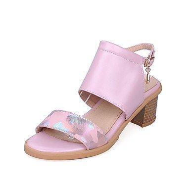 LvYuan Mujer-Tacón Robusto-Confort Innovador-Sandalias-Boda Oficina y Trabajo Fiesta y Noche Vestido Informal-Materiales Personalizados Semicuero Pink