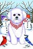 Bichon Frise – by Tomoyo Pitcher, Winter Themed Dog Breed Flags 12 x 18 For Sale