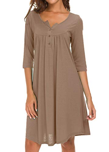 - AMCLOS Womens V Neck Dress Casual Swing Simple Ruffle Button up Loose Dresses 3/4 Sleeve Long Sleeve (X-Large, Long-Light Coffe)