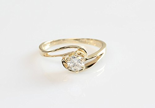 - Solitaire 14K Yellow Gold 0.40 Carats Women Diamond Engagement Ring for women