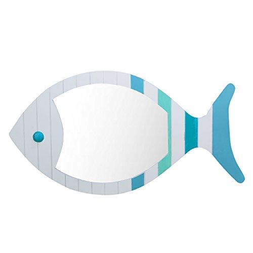Beachcombers Coastal Wood Slat Fish Shaped Wall Mirror Plaqu