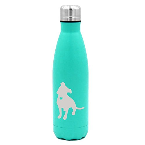 (17 oz. Double Wall Vacuum Insulated Stainless Steel Water Bottle Travel Mug Cup Cute Pit Bull With Heart (Light-Blue))