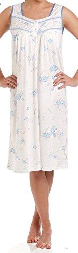 Lady Olga - Camisón de algodón para mujer, diseño floral sin mangas, ropa de noche 0103 Azul