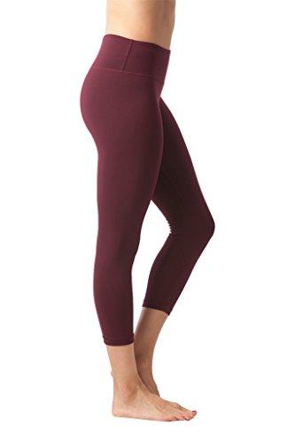90 Degree By Reflex Yoga Capris - Yoga Capris for Women - Hidden Pocket - Burgogne - XS by 90 Degree By Reflex (Image #1)