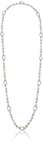 ELYA Jewelry Womens Stainless Steel Necklace with Peach Freshwater Pearls Strand Necklace, White, One Size