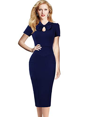 Front Dress Bow Sheath - VFSHOW Womens Dark Blue Retro Keyhole Bow Pockets Work Business Cocktail Midi Sheath Dress 2670 BLU XXL