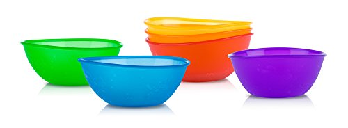 Nuby 4-Pack Embossed Bowls, Colors May Vary