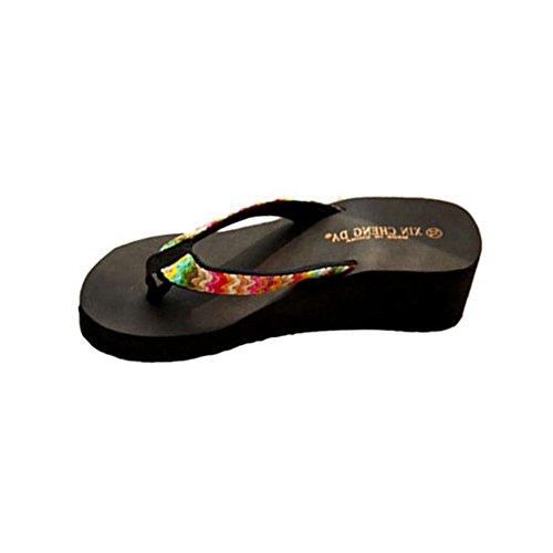 Sandalen Damen LHWY Sommer Plattform Sandalen Flach Elegant Dicker Boden Keile Strand Lässige Flip Flops Frauen Hausschuhe Gewebt Band Schwarz