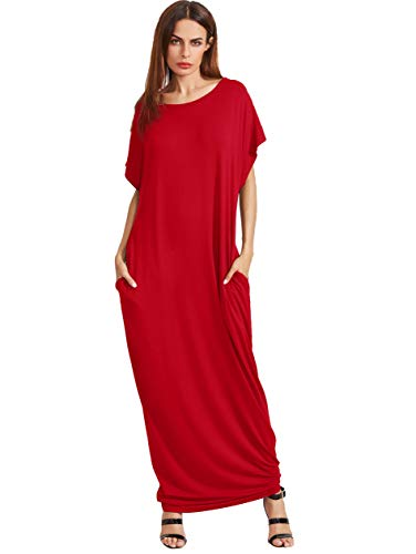 Verdusa Women's Short Sleeve Casual Loose Long Maxi Dress with Pockets Red-2 XXXL