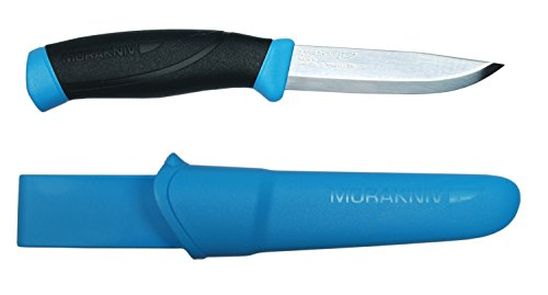 Morakniv Companion Fixed Blade Outdoor Knife with Sandvik Stainless Steel Blade, 4.1-Inch, Cyan