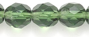 Preciosa 8FC283-D Czech Fire 8mm Polished Glass Bead, Faceted Round, Transparent Dark Olive, 120-Pack Czech Faceted Round Olive