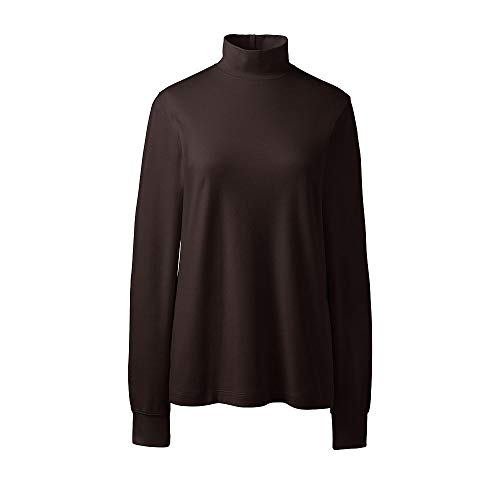 Ladies Interlock Mock Turtleneck (Lands' End Women's Petite Relaxed Cotton Mock Turtleneck, M, Sarsaparilla)