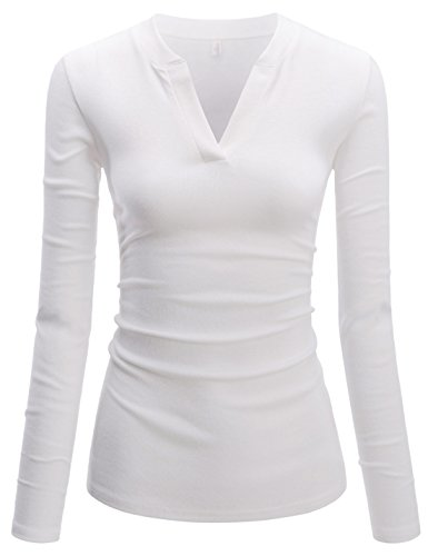 TheLees (NKWVT609) Womens Fitted Tee V-neck Long Sleeve Daily Cotton Tshirts WHITE US M(Tag size ()