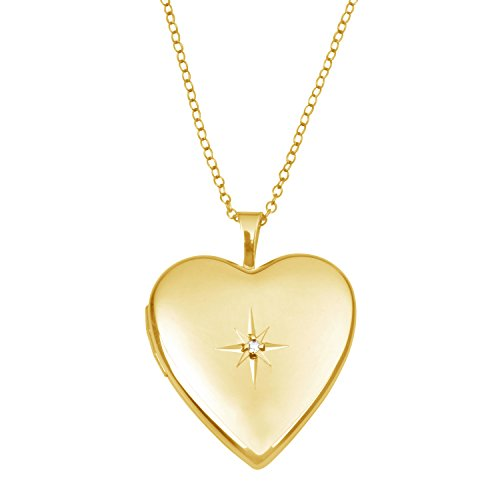 14K Gold Photo Locket Pendant with Diamond, Heart Shape with Necklace Chain by Juliette Collection