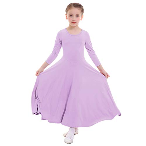 Girls Celebration of Spirit Long Sleeve Dance Dress Long Maxi Round Neck Pleated Dress Pullover Clothes School Girls Casual Party Princess Dancewear Costumes for Performance Light Purple 9-10 Years for $<!--$20.48-->