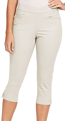 Gloria Vanderbilt Womens Avery Button Hem Capris 12 Pebble Stone Beige