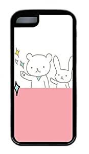 The Beautiful White Bear And Pink Stage Lovely Mobile Phone Protection Shell For iPhone 5c Cases - Unique Cool Black Soft Edge Case