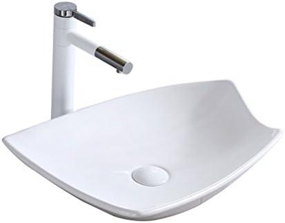 XZ 浴室の磁器盆地カウンター盆地ホームバルコニー洗面台セラミック盆地アート盆地付き蛇口セット、49×38.5×12.5センチ 容器シンク