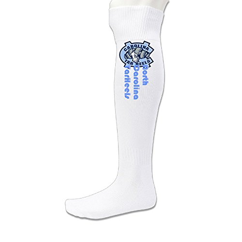 Unisex North Carolina TarHeels Knee High Long Athletic Soccer Rugby Football Sport Tube Sock White ()
