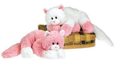 Amazon Com 14 Pink And White Laydown Kitty Cat Plush Stuffed