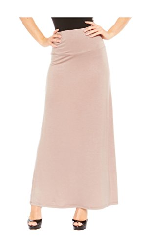 - Red Hanger Women's Stylish Solid Long Maxi Skirt - Made in USA, Taupe-2X