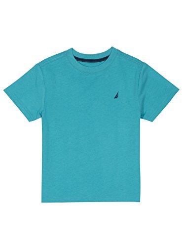 Nautica Boys' Short Sleeve Solid Crew-Neck T-Shirt, Coast Casper Blue, 7